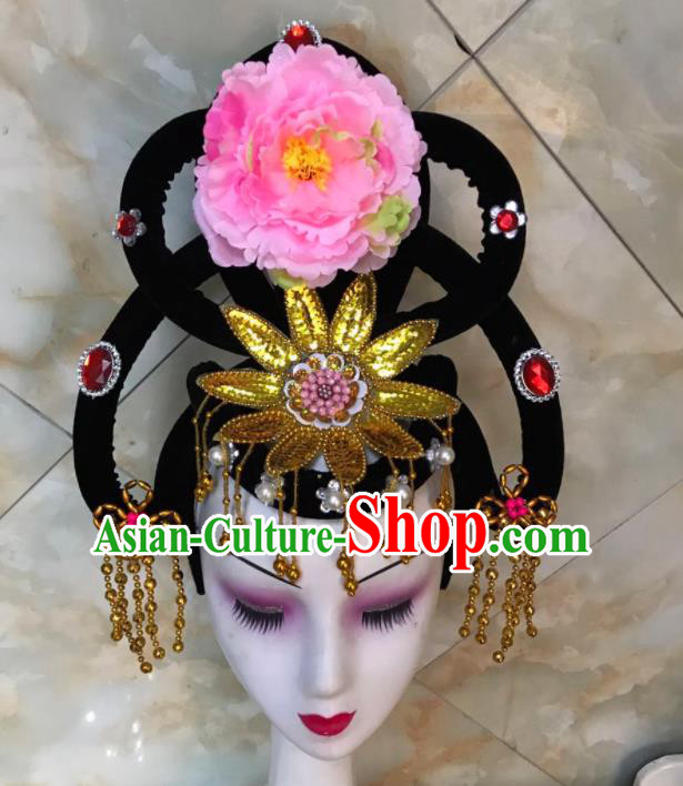 Chinese Traditional Beijing Opera Peri Wigs and Pink Peony Hairpins Peking Opera Princess Hair Accessories for Women