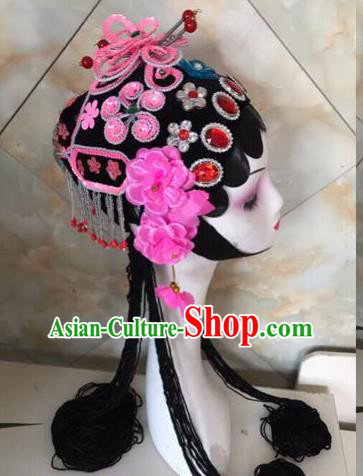 Chinese Traditional Beijing Opera Pink Butterfly Hairpins and Wigs Sheath Peking Opera Princess Hair Accessories for Women