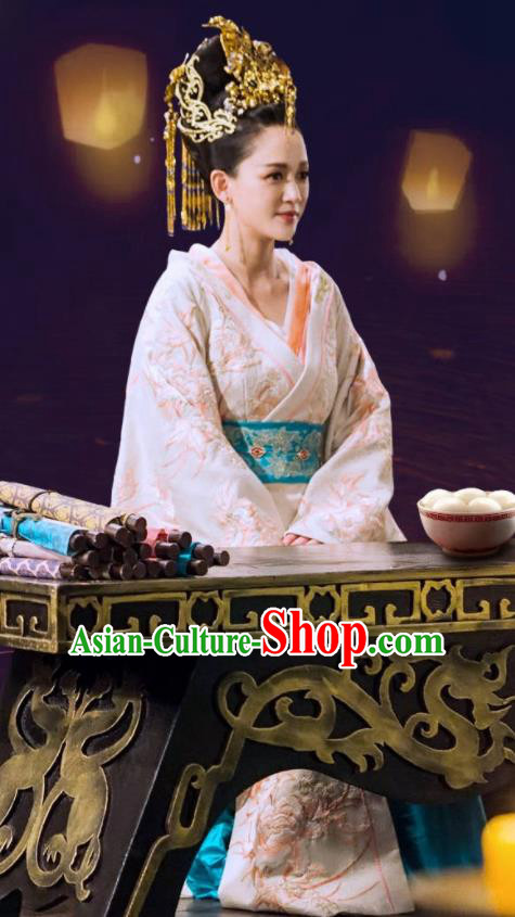 Drama Queen Dugu Chinese Sui Dynasty Empress Hanfu Dress Ancient Historical Costume and Headpiece for Women
