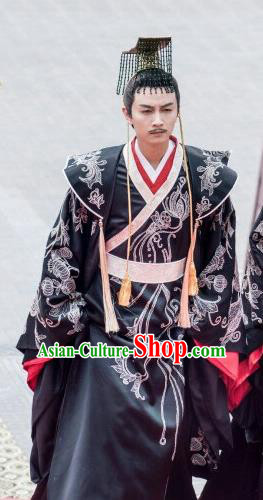 Drama Queen Dugu Chinese Sui Dynasty Emperor Yang Jian Hanfu Ancient King Historical Costume and Headpiece for Men