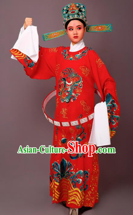 Chinese Traditional Peking Opera Number One Scholar Red Embroidered Robe Beijing Opera Niche Costume for Men