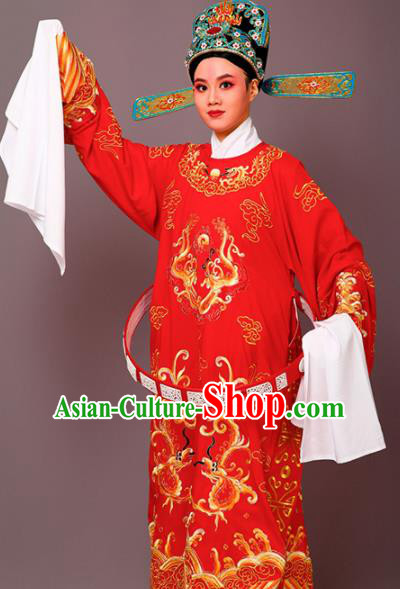 Chinese Traditional Peking Opera Niche Red Embroidered Robe Beijing Opera Number One Scholar Costume for Men