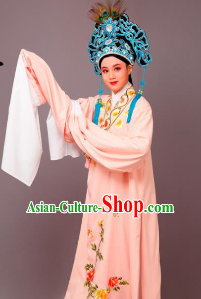 Chinese Traditional Peking Opera Niche Orange Robe Beijing Opera Scholar Embroidered Peony Costume for Men