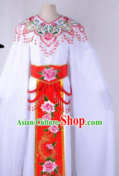 Chinese Traditional Shaoxing Opera Peri Embroidered Red Peony Dress Beijing Opera Hua Dan Costume for Women