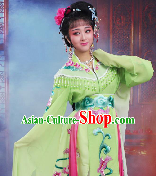 Chinese Traditional Huangmei Opera Peri Embroidered Green Dress Beijing Opera Hua Dan Costume for Women