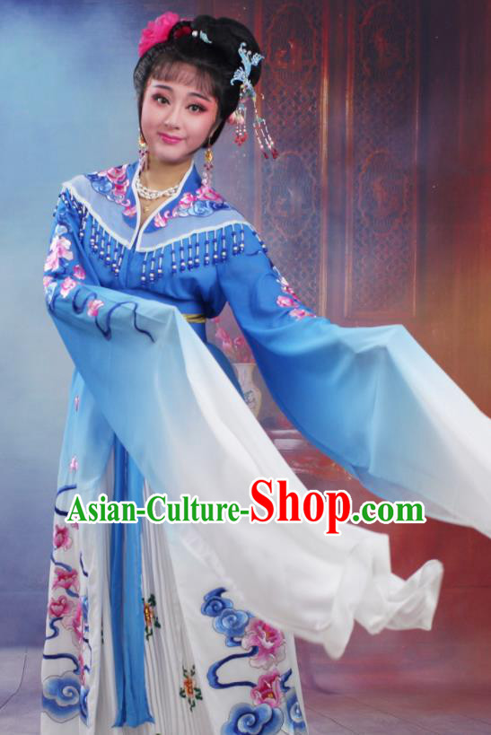 Chinese Traditional Huangmei Opera Peri Embroidered Royalblue Dress Beijing Opera Hua Dan Costume for Women