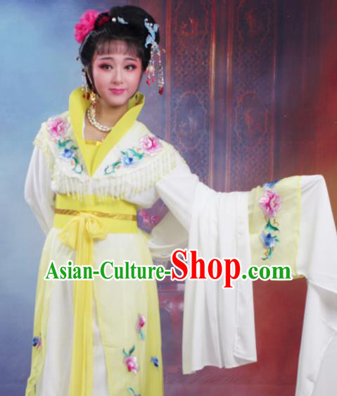 Chinese Traditional Huangmei Opera Nobility Lady Embroidered Yellow Dress Beijing Opera Hua Dan Costume for Women