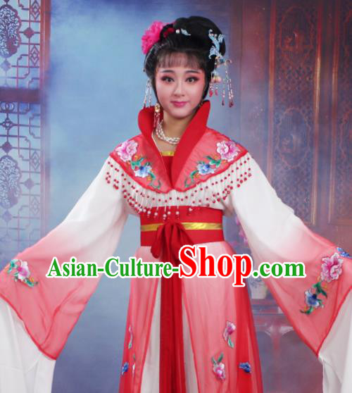 Chinese Traditional Huangmei Opera Nobility Lady Embroidered Red Dress Beijing Opera Hua Dan Costume for Women