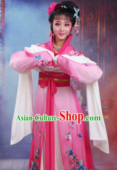Chinese Traditional Huangmei Opera Nobility Lady Embroidered Rosy Dress Beijing Opera Hua Dan Costume for Women