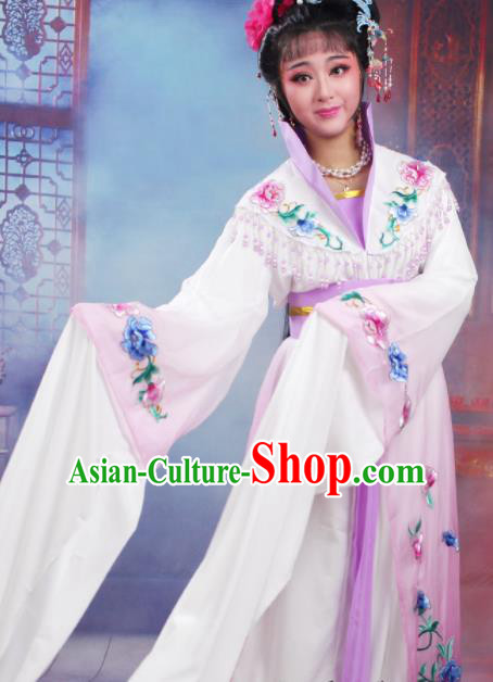 Chinese Traditional Huangmei Opera Nobility Lady Embroidered Purple Dress Beijing Opera Hua Dan Costume for Women