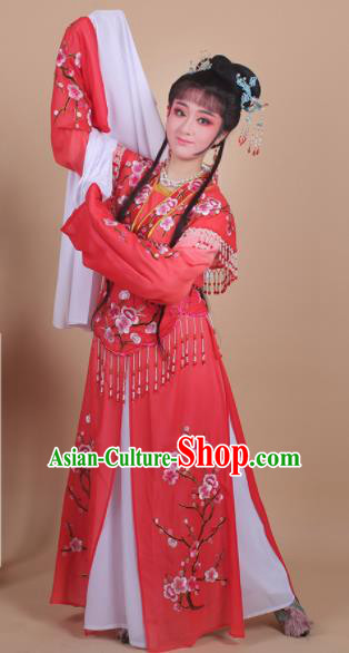 Chinese Traditional Shaoxing Opera Embroidered Plum Blossom Red Dress Beijing Opera Princess Hua Dan Costume for Women