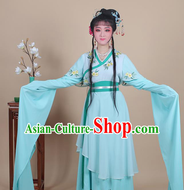 Chinese Traditional Shaoxing Opera Maidservants Embroidered Green Dress Beijing Opera Young Lady Hua Dan Costume for Women