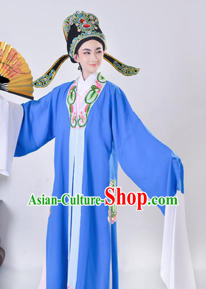 Chinese Traditional Peking Opera Gifted Scholar Embroidered Blue Robe Beijing Opera Niche Costume for Men