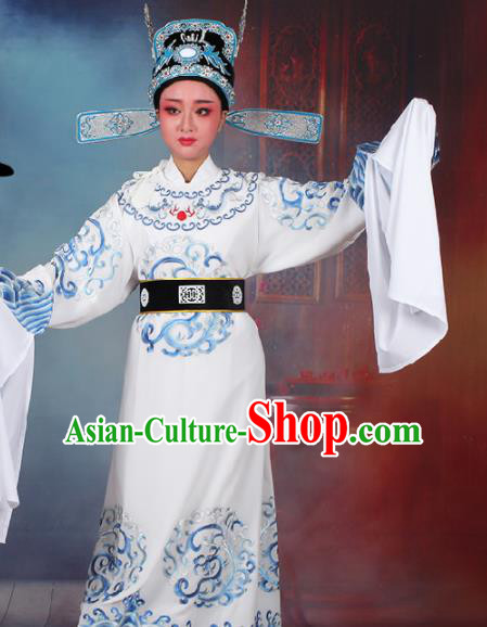 Chinese Traditional Peking Opera Number One Scholar White Embroidered Robe Beijing Opera Niche Costume for Men