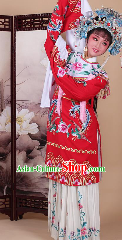 Chinese Traditional Shaoxing Opera Imperial Consort Embroidered Red Dress Beijing Opera Hua Dan Costume for Women