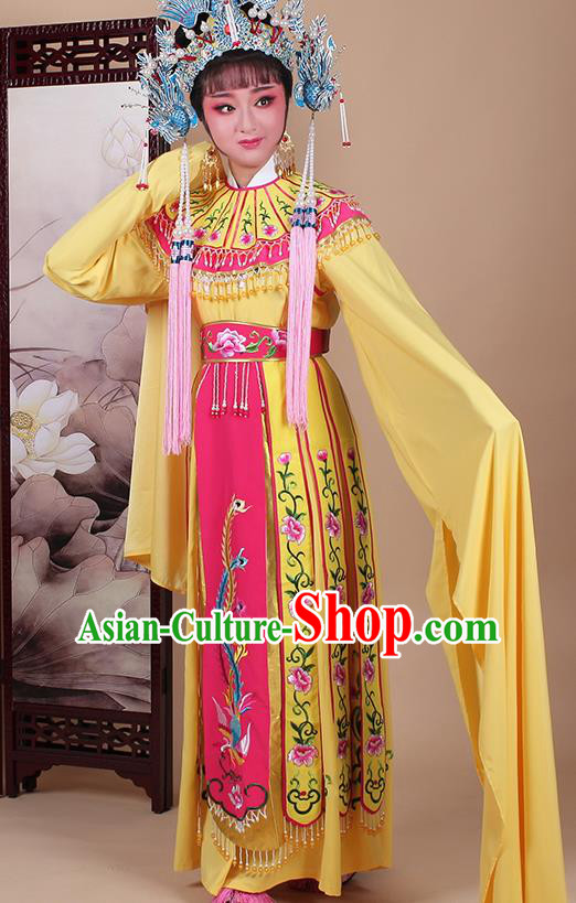 Chinese Traditional Shaoxing Opera Princess Yellow Dress Beijing Opera Hua Dan Embroidered Costume for Women