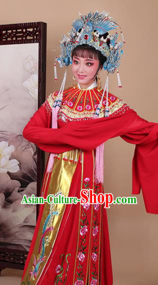 Chinese Traditional Shaoxing Opera Princess Red Dress Beijing Opera Hua Dan Embroidered Costume for Women