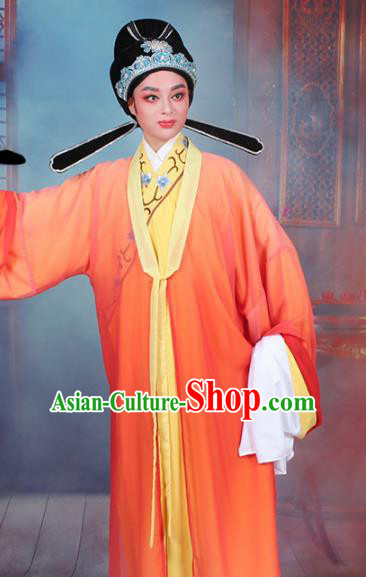Chinese Traditional Peking Opera Scholar Orange Robe Beijing Opera Niche Costume for Men