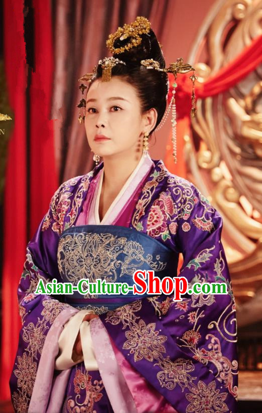 Chinese Ancient Drama Queen Dugu Northern Zhou Dynasty Queen Dowager Embroidered Historical Costume and Headpiece for Women