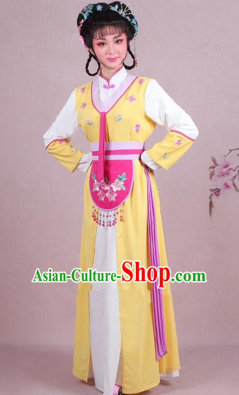 Chinese Traditional Shaoxing Opera Maidservants Embroidered Yellow Dress Beijing Opera Young Lady Costume for Women