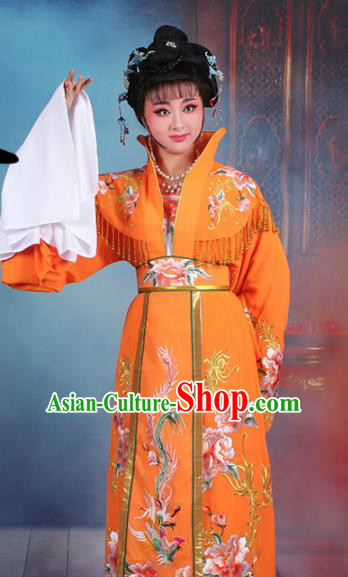 Chinese Traditional Shaoxing Opera Empress Embroidered Orange Dress Beijing Opera Palace Queen Costume for Women