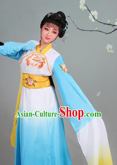 Chinese Traditional Shaoxing Opera Palace Lady Embroidered Blue Dress Beijing Opera Court Maid Costume for Women