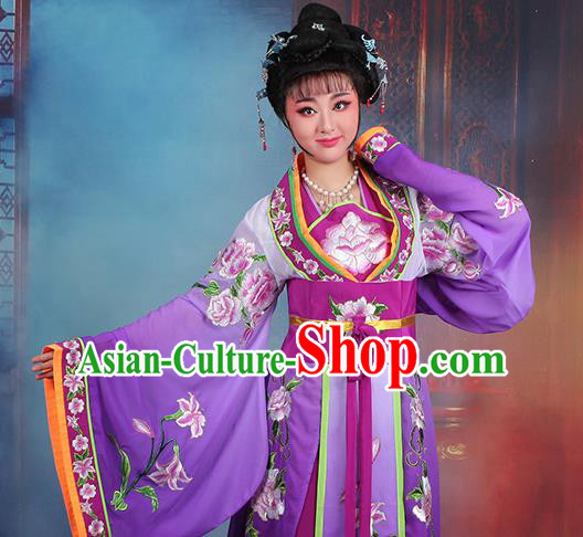 Chinese Traditional Shaoxing Opera Imperial Consort Embroidered Purple Dress Beijing Opera Hua Dan Costume for Women