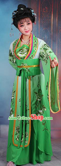 Chinese Traditional Shaoxing Opera Imperial Consort Embroidered Green Dress Beijing Opera Hua Dan Costume for Women