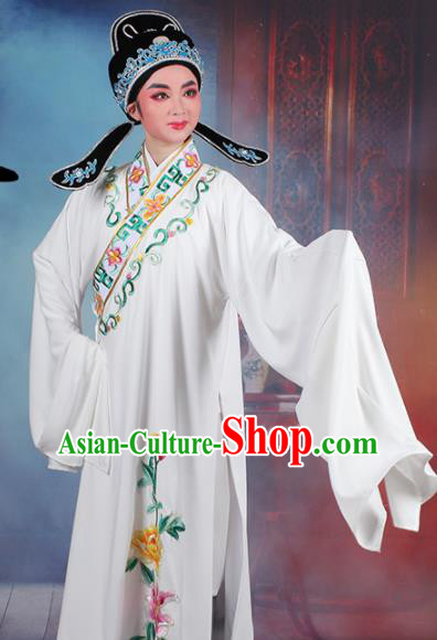 Chinese Traditional Peking Opera Niche Embroidered Peony White Robe Beijing Opera Scholar Costume for Men
