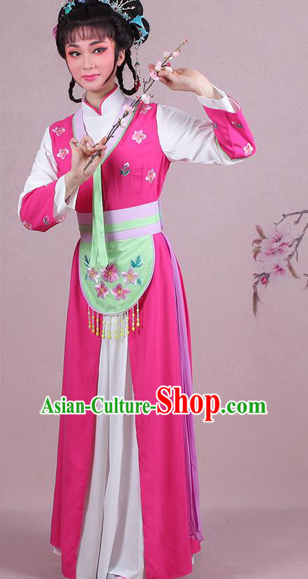 Chinese Traditional Shaoxing Opera Maidservants Embroidered Rosy Dress Beijing Opera Young Lady Costume for Women