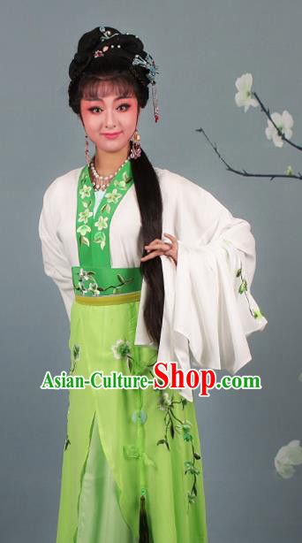 Chinese Traditional Huangmei Opera Rich Lady Embroidered Green Dress Beijing Opera Hua Dan Costume for Women