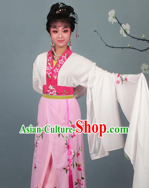Chinese Traditional Huangmei Opera Rich Lady Embroidered Pink Dress Beijing Opera Hua Dan Costume for Women