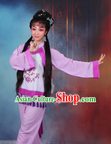 Chinese Traditional Huangmei Opera Poor Lady Purple Dress Beijing Opera Maidservants Costume for Women
