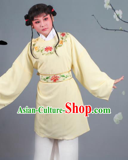 Chinese Traditional Peking Opera Livehand Yellow Clothing Beijing Opera Servant Costume for Men
