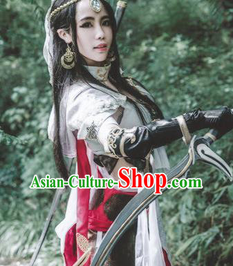 Chinese Traditional Cosplay Female Knight Embroidered White Dress Ancient Swordswoman Costume for Women