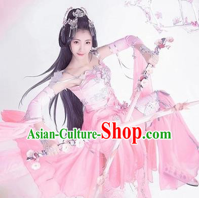 Chinese Traditional Cosplay Female Knight Pink Hanfu Dress Ancient Swordswoman Costume for Women