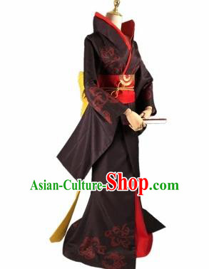 Chinese Traditional Cosplay Princess Black Hanfu Dress Ancient Swordswoman Costume for Women