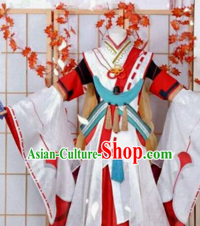 Chinese Traditional Cosplay White Hanfu Dress Ancient Swordswoman Costume for Women