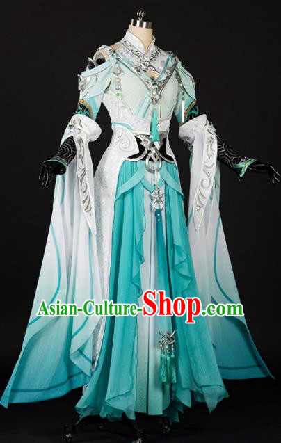 Chinese Traditional Cosplay Female Knight Green Hanfu Dress Ancient Swordswoman Costume for Women