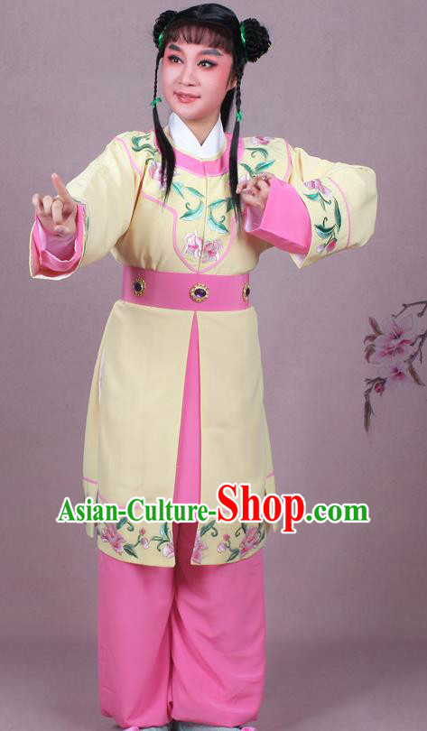 Chinese Traditional Peking Opera Servant Yellow Clothing Beijing Opera Livehand Costume for Men