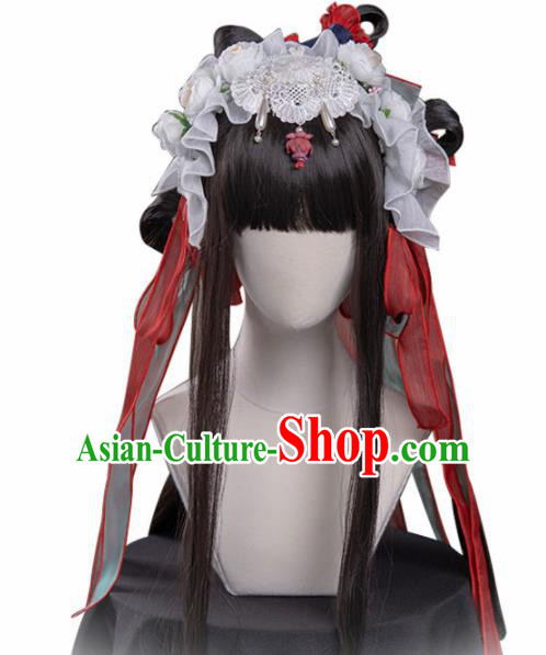 Chinese Traditional Cosplay Wigs Ancient Moon Goddess Peri Wig Sheath and Hairpins Hair Accessories for Women