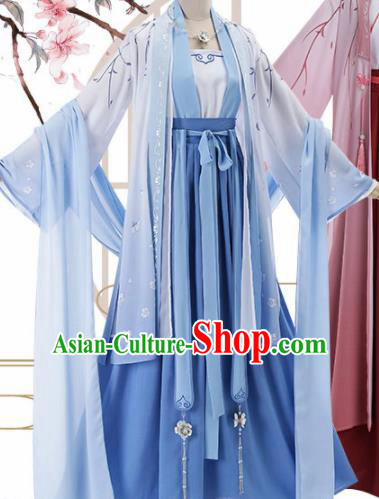 Chinese Traditional Cosplay Princess Costume Ancient Tang Dynasty Blue Hanfu Dress for Women