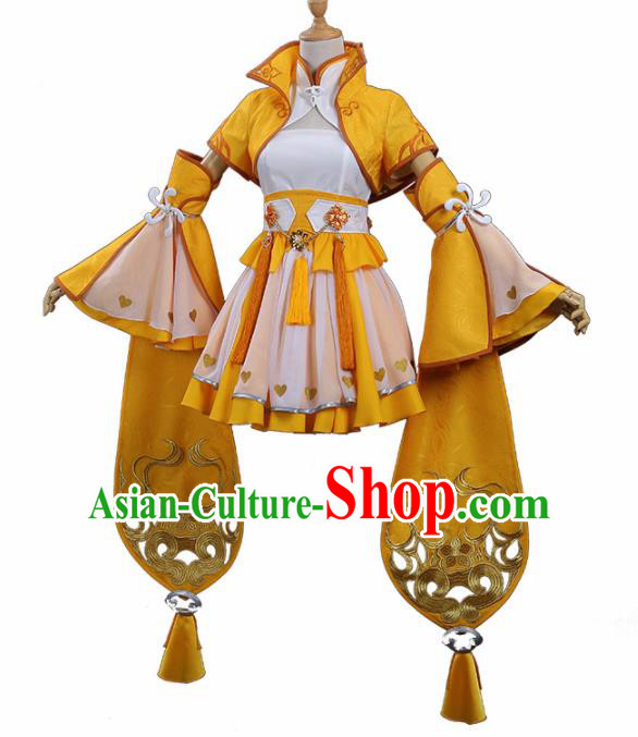Traditional Halloween Cosplay Swordswoman Costume Ancient Female Knight Yellow Hanfu Dress for Women