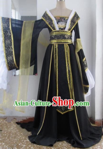 Chinese Traditional Cosplay Queen Costume Ancient Imperial Consort Black Hanfu Dress for Women