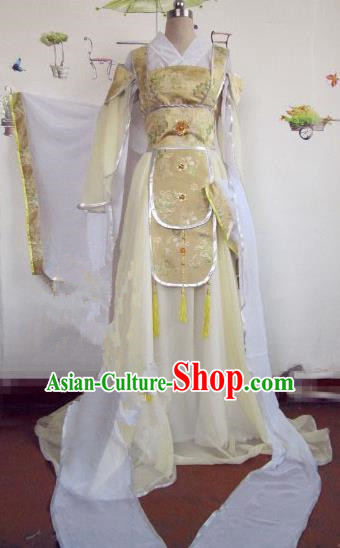 Chinese Traditional Cosplay Peri Costume Ancient Princess Yellow Hanfu Dress for Women