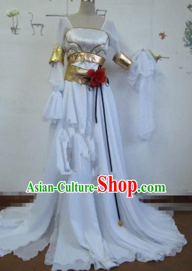 Chinese Traditional Cosplay Peri Princess Costume Ancient Flying Apsaras White Hanfu Dress for Women