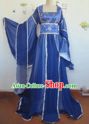 Chinese Traditional Cosplay Apsaras Costume Ancient Tang Dynasty Imperial Consort Royalblue Hanfu Dress for Women