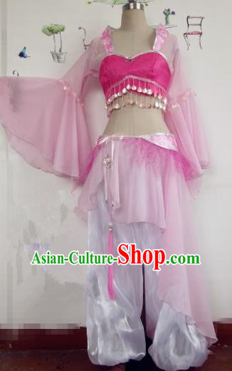 Chinese Traditional Cosplay Apsaras Costume Ancient Tang Dynasty Princess Pink Hanfu Dress for Women