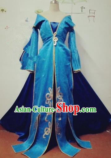 Chinese Traditional Cosplay Apsaras Costume Ancient Tang Dynasty Princess Blue Hanfu Dress for Women