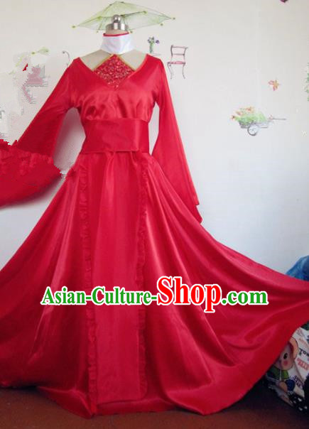 Chinese Traditional Cosplay Apsaras Wedding Costume Ancient Peri Princess Red Hanfu Dress for Women